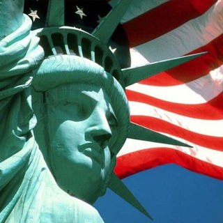 Liberty with flag